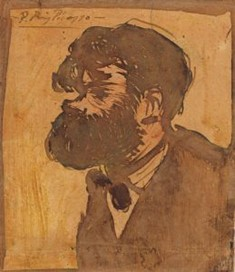 Portrait of Mir by Picasso, 1900. It was produced for the magazine Pèl i Plom in October 1901. Metropolitan Museum of Art of New York