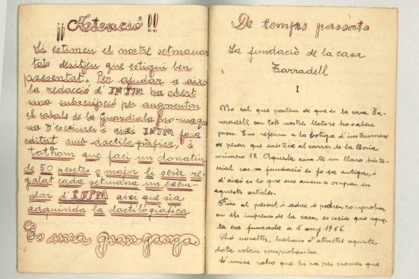 Interior del núm. 2 de la revista manuscrita Íntim, editada per Miquel Tarradell el juny de 1934. Arxiu Núria i Eulàlia Tarradell i Font.