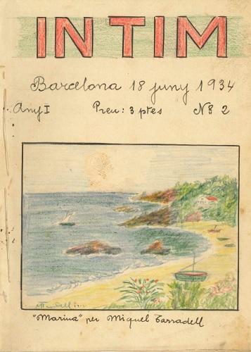 Coberta del núm. 2 de la revista manuscrita Íntim, editada per Miquel Tarradell el juny de 1934. Arxiu Núria i Eulàlia Tarradell i Font.