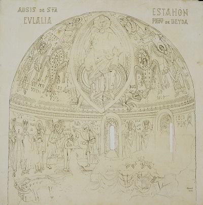 Joan Vallhonrat, reproducció de l'absis de santa Eulàlia d'Estaon