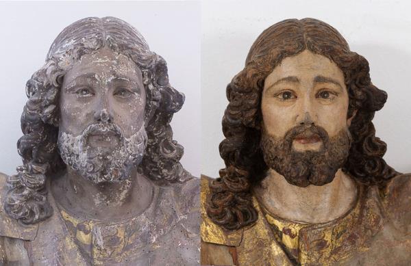 Rostro de santa Liberada. Antes y después de la restauración llevada a cabo en el  Museu Nacional