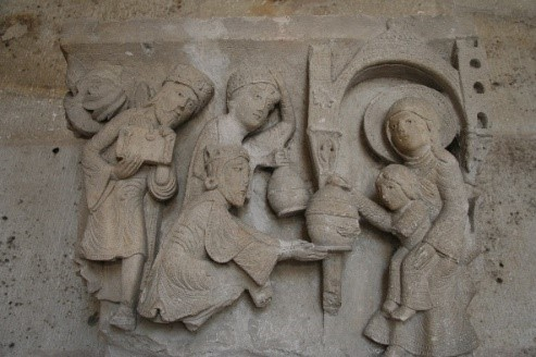 Adoration of the Magi. Capital in Saint-Lazare in Autun