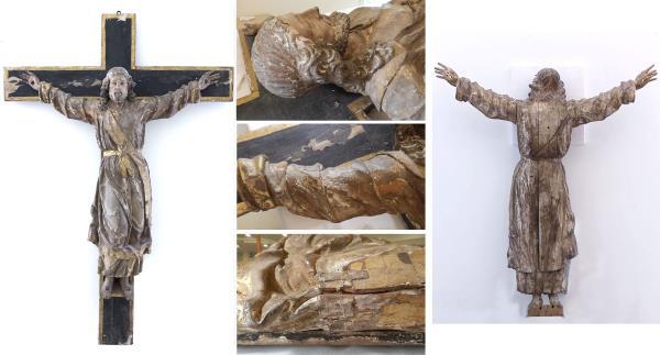 La obra antes de la restauración. Imagen general, detalles y reverso de la figura
