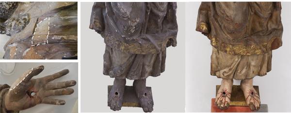 Detalles de dos catas de limpieza en la túnica y mano (izquierda). Detalles antes y después de la restauración (derecha)