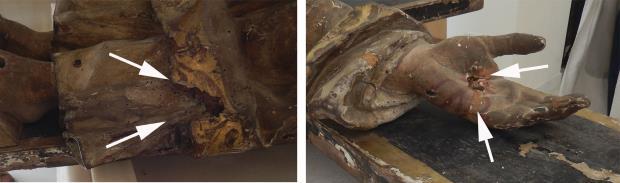 Santa Lliberada. Detalls de pèrdues de suport de fusta i d'una fractura intervinguda a la mà