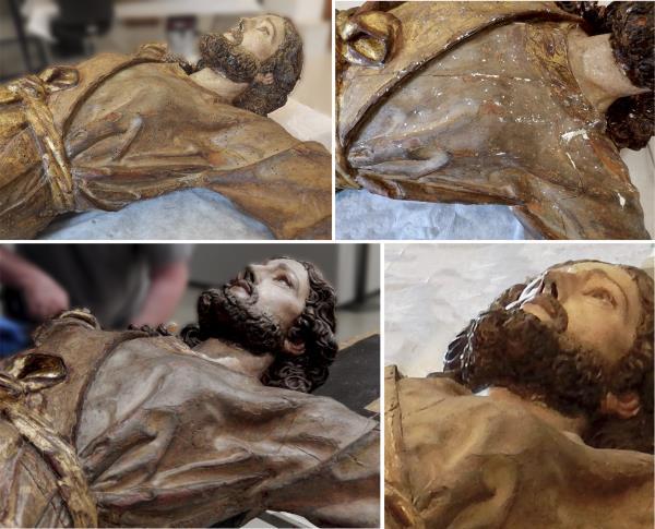Detalls de la Santa després de la neteja i en fase d'estucat dels forats de corc (part superior). Detalls del pit de la santa després de la reintegració pictòrica (part inferior)