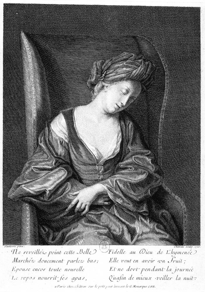 Nicolas Château (gravador), Jean Baptiste Santerre (inventor,) Dona jove dormint, 1710. Bibliothèque nationale de France. Cabinet des Estampes, París