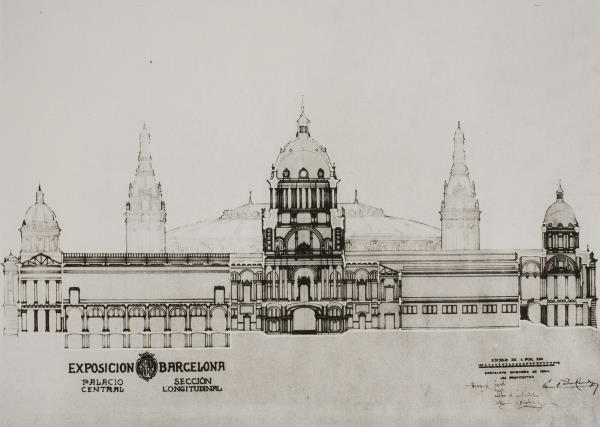 Longitudinal section of the Palau Nacional. In the centre the height of the dome may be observed. On the left, the basement room is visible