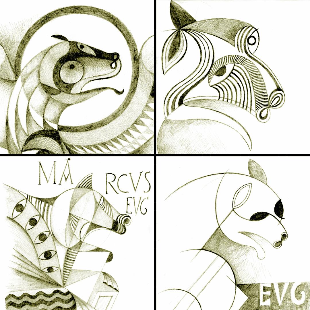 Collage amb alguns detalls dels dibuixos d'Iker Spozio