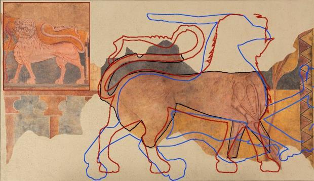 Superposición digital del león (línea granate) al grifo (línia azul) y al pardus (línea negra). Gráfica: Paz Marquès