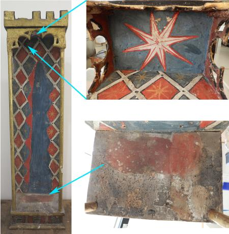 General image and details of the tabernacle prior to restoration. The inside of the canopy roof was decorated with a large white star. Detail of the base of the tabernacle, where the accumulation of dirt and the holes made by woodworm can be seen. Photos: Núria Prat