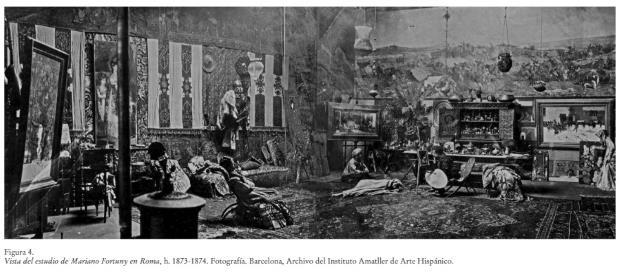 Vista de l'estudi de Marià Fortuny a Roma, c. 1873-1874 – Arxiu de l'Institut Amatller d'Art Hispànic o Arxiu Mas