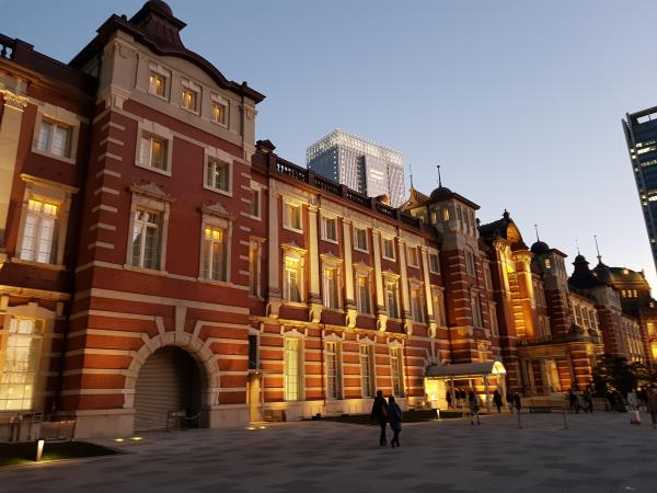 Tokyo Station Gallery, the fifth venue, lit up at night