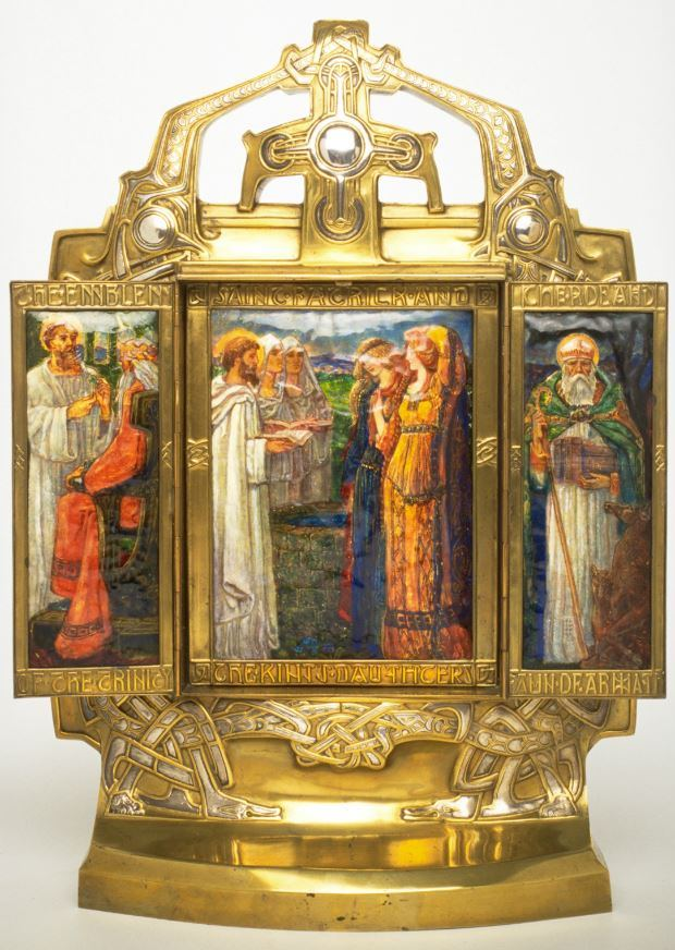Triptych, depicts scenes of St Patrick's life in Ireland, enamels and brass inlaid with silver and painted with enamels, London, c. 1903, by Alexander Fisher, National Museum of Ireland