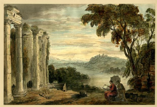 Un artista dibuixant un temple en ruïnes, Sir William Beechey, 1753-1839. © The Trustees of the British Museum