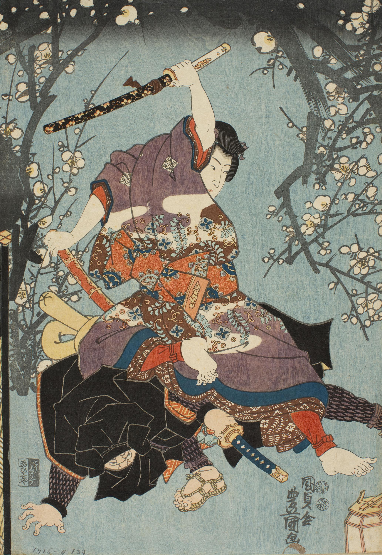 Utagawa Kunisada, El segundo mes (Kisaragi). Año de acontecimientos del joven Murasaki (Wakamurasaki nenjû gyôji no uchi), hacia 1849-1850
