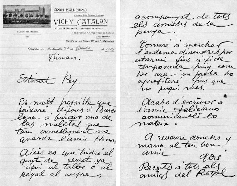 Carta de Gosé al seu amic Josep Pey des del Balneari Vichy Català