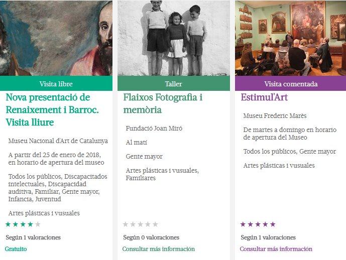 Captura de pantalla de actividades y exposiciones del programa Apropa Cultura