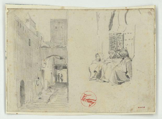 Marià Fortuny, Calle marroquí y figuras, hacia 1860-1862