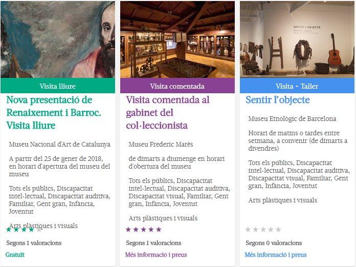 Captura de pantalla d'activitats de museus i exposicions del programa Apropa Cultura