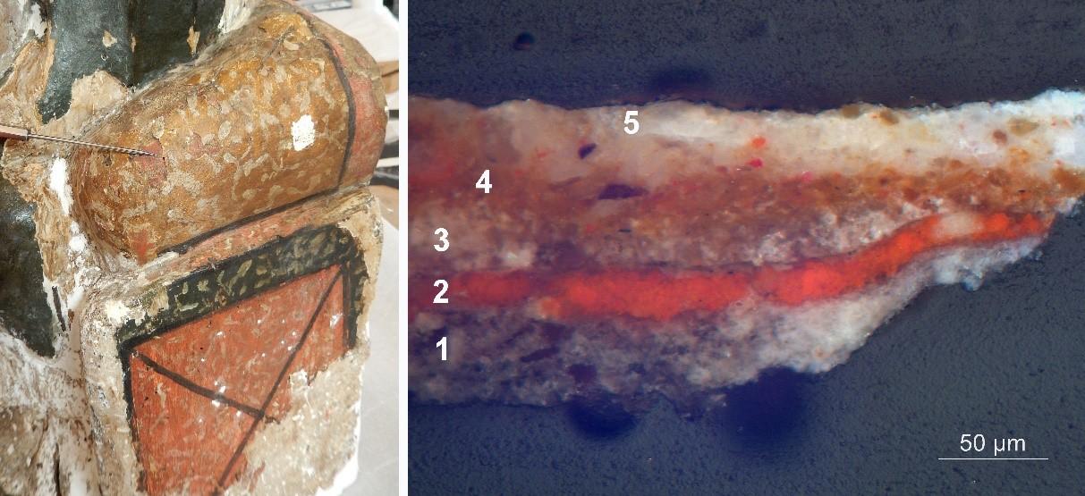 Punt d'extracció d'una mostra de la part esquerra del seient de la Mare de Déu i estratigrafia amb la superposició de diferents capes