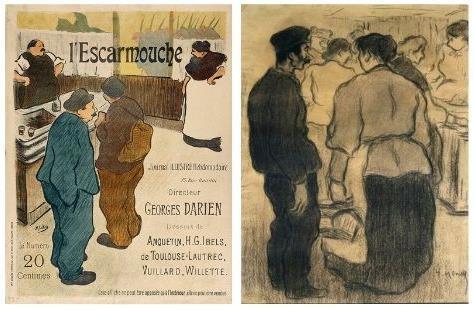 Henri-Gabriel Ibels. L'Escarmouche, 1893 ; i Isidre Nonell, A les taules de carn de la Boqueria, 1894