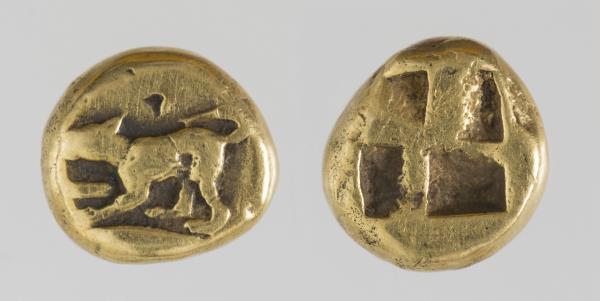 1/6 of Kyzikos Stater, 500-450 BC. Museu Nacional