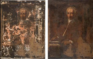 Imatge general finalitzada la neteja i amb estucs i imatge general després de la restauració.
