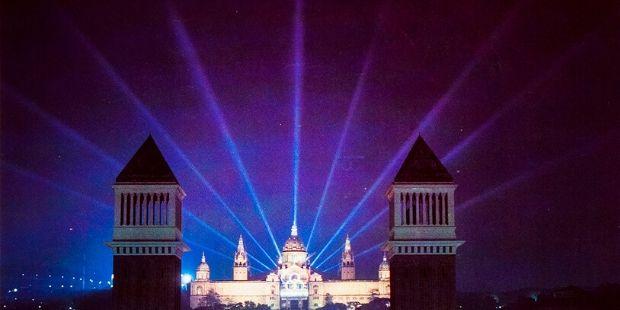 Focus de llum del Palau nacional de Barcelona