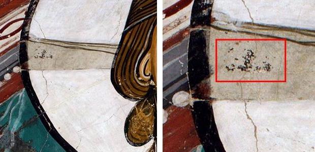 Localització del punt de mostra de les restes de la creu del nimbe del Crist de Sant Climent de Taüll.