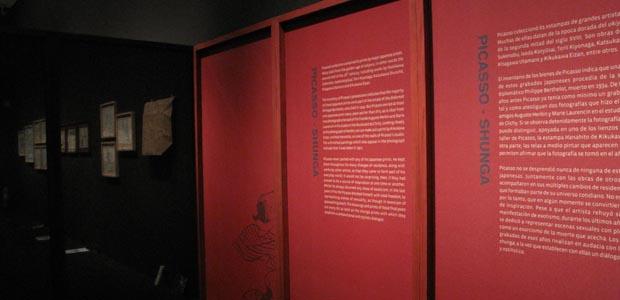 Muntatge de l'exposició Imatges secretes, Picasso i l'estampa eròtica japonesa al Museu Picasso de Barcelona, on els murs semitransparents que divideixen els àmbits són, alhora, el suport de la informació gràfica mitjançant impressió directa, damunt de teixit de paper de cel•lulosa tensat, amb bastidor de fusta de pi i de pollancre. (Foto Anna Alcubierre).
