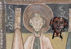 El mateix cap amb el calc del cap de sant Pau de Sant Romà de les Bons.