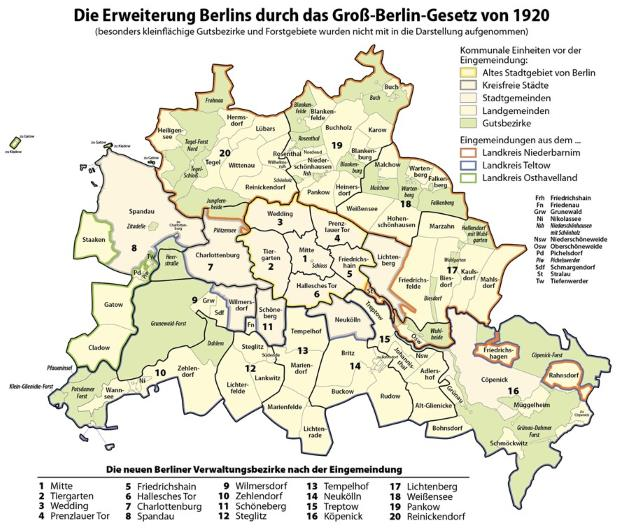 Map of Greater Berlin. To the original 6 districts, 14 more were added