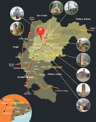 La vall de Boí, mapa procedent del Centre del Romànic