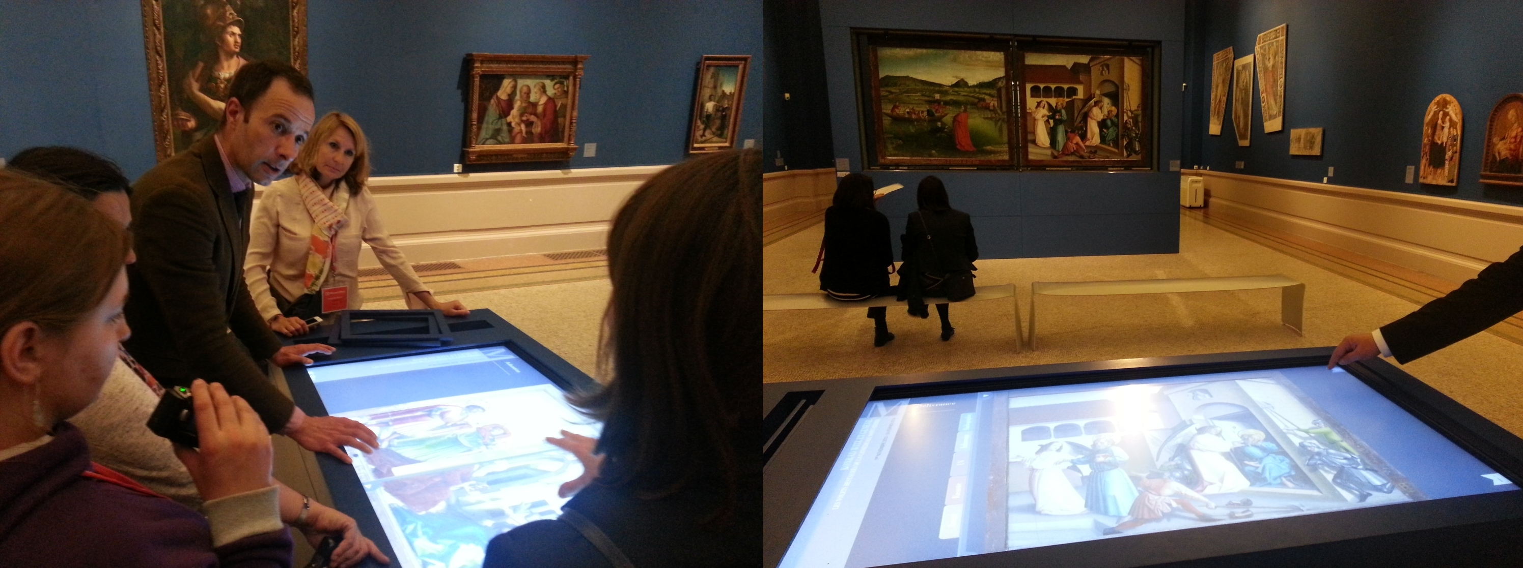 Interactive table showing the restoration and research about the altarpiece by Konrad Witz explained by David Matthey, Musée d'Art et d'Historie.