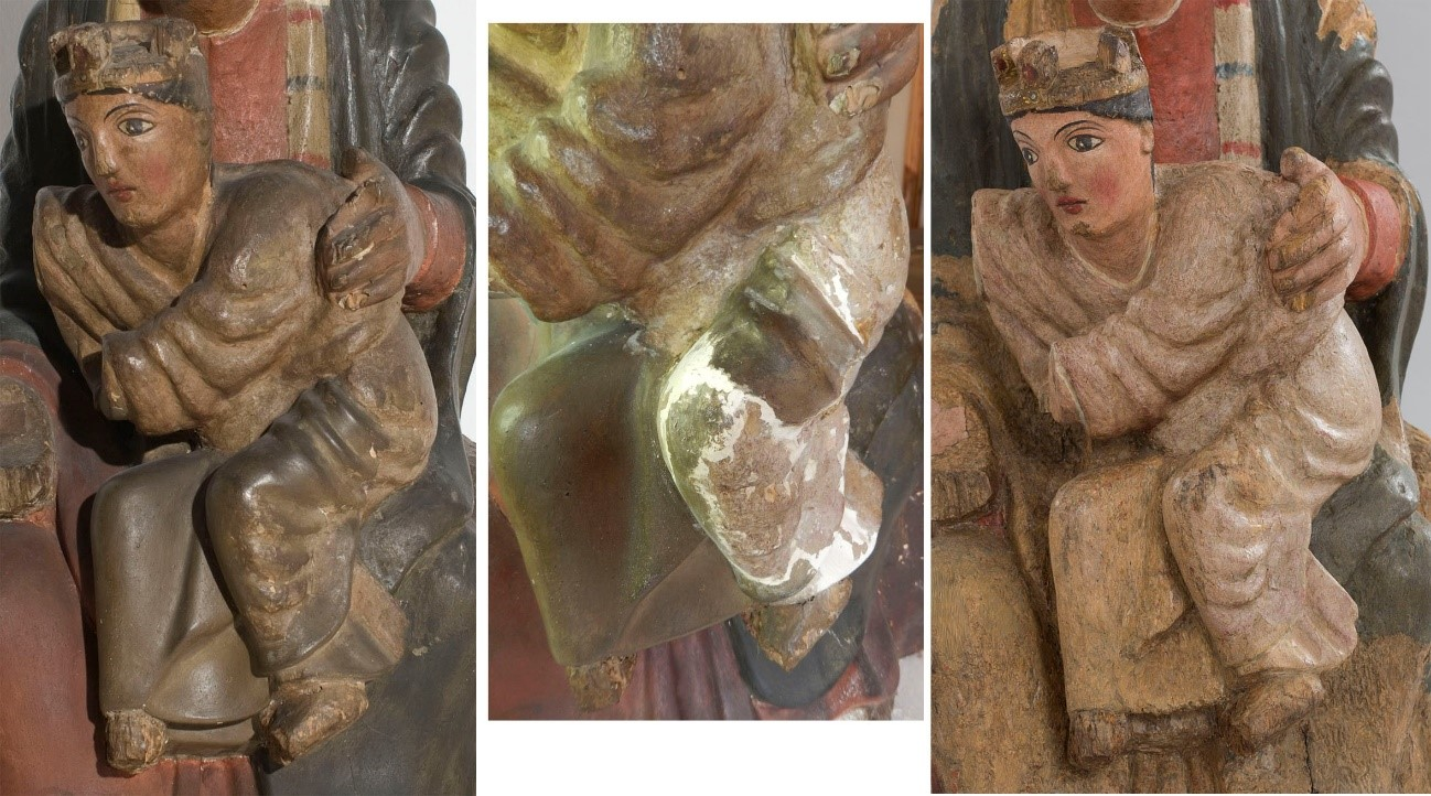 Detail of the Child before the current restoration, cleaning/stucco removal process and now with the inpainting