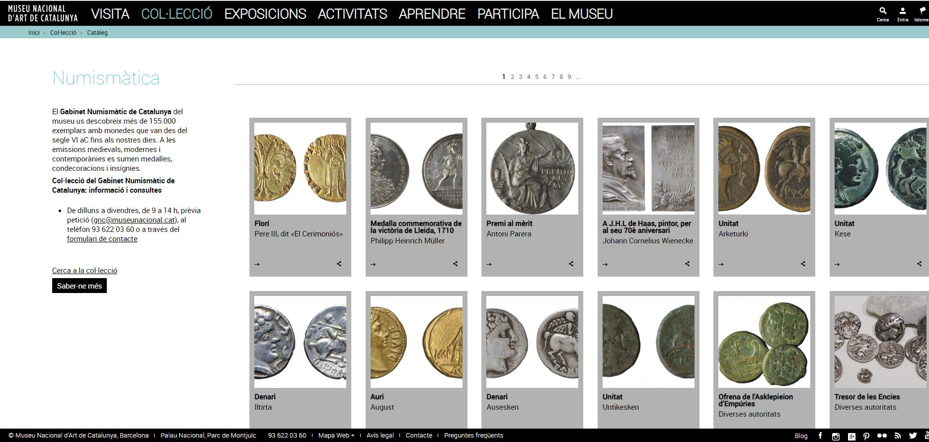 Online Catalog of the of the Numismatic Cabinet of Catalonia