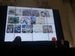 Juanjo Lahuerta y el director Pepe Serra presentando el proyecto al personal del museo.