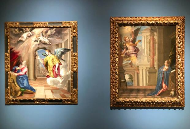 """Doménikos Theotokópoulos (El Greco), L'Anunciació, 1577-1580 i Paolo Caliari conegut com """"Il Veronese"""", L'Anunciació, entre 1580-1582"""