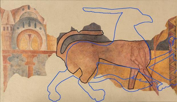 Un mismo modelo. Superposición digital de las bestias. Repasado con línea azul, el Grifo y con tinta negra el Pardus. Gráfica: Paz Marquès