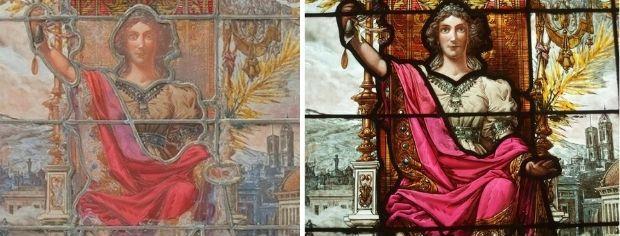 A. Rigalt y Cª. Barcelona, Josep Lluís Pellicer, dibuix, Al·legoria de l'Exposició de Belles Arts (1896). Detall de la figura femenina del plafó central (sense llum transmesa (esq.) i amb llum transmesa (dreta).