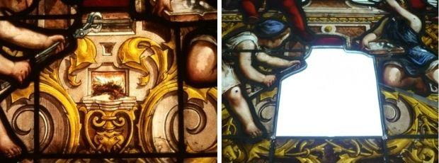 Brownish glass on the outside and cleaning the glass onthe inside decorated with grisailles